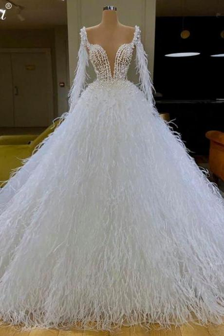 feather wedding dresses, ball gown wedding dresses, cheap bridal dresses, newest bridal dresses, long sleeve wedding dresses, custom make wedding dress, 2021 wedding dress, bridal dresses, vestidos de noiva