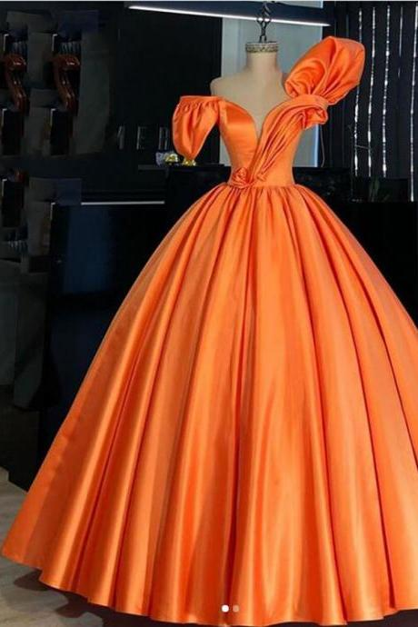 Real Picture Orange Satin Puffy Prom Dresses 2021 Vintage Pleated 3D Flower Long Prom Gowns Plus Size Formal Party Dress