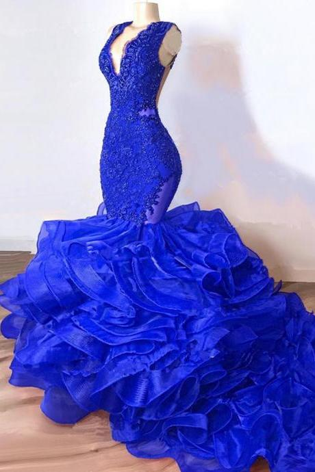 Gorgeous Royal Blue Ruffles Mermaid Prom Dresses 2021 Sexy Sheer Lace Beaded Train Tutu African Trumpet Evening Party Gowns Robe de soriee