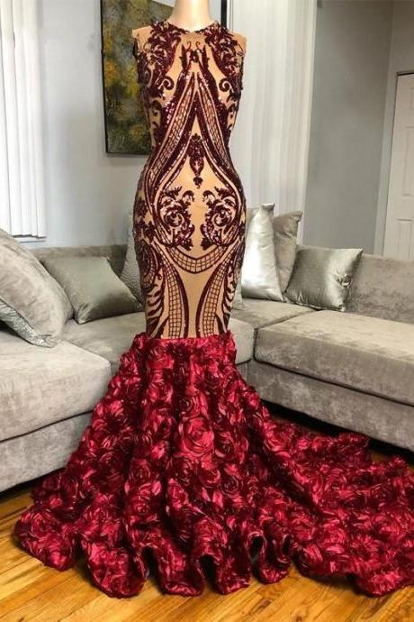 Burgundy Sequined Mermaid Prom Dresses 2020 for African Black Girls Glitter 3D Flowers Real Photo Long Formal Party Gowns