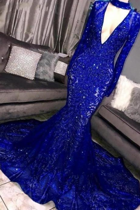 2021 New Long Sleeve Mermaid Prom Dresses Deep V Neck Sparkly Sequins Women Evening Prom Party Gown Black Girls