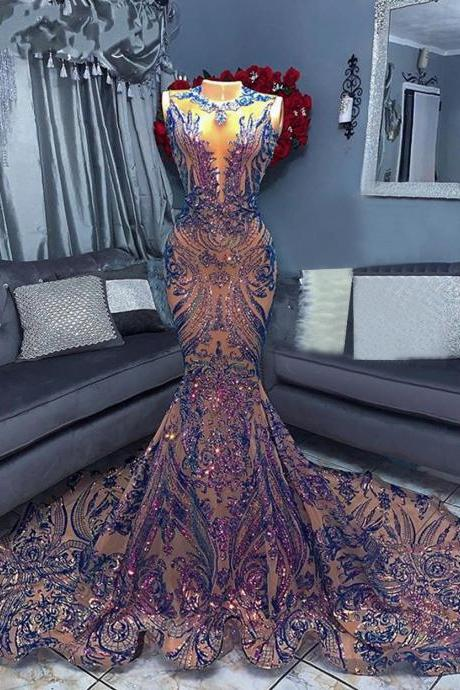 Sparkly Long Prom Dresses 2021 Sexy Mermaid Style Sequin African Women Black Girls Gala Celebrity Prom Party Night Gowns