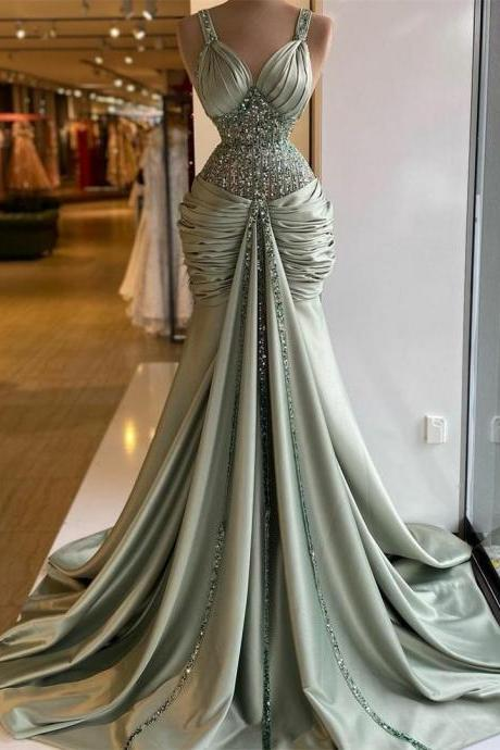 green prom dress, sweetheart prom dresses, pleats prom dresses, crystal prom dresses, beaded evening dresses, new arrival prom dresses, custom make evening dresses, fashion party dresses, satin evening gowns