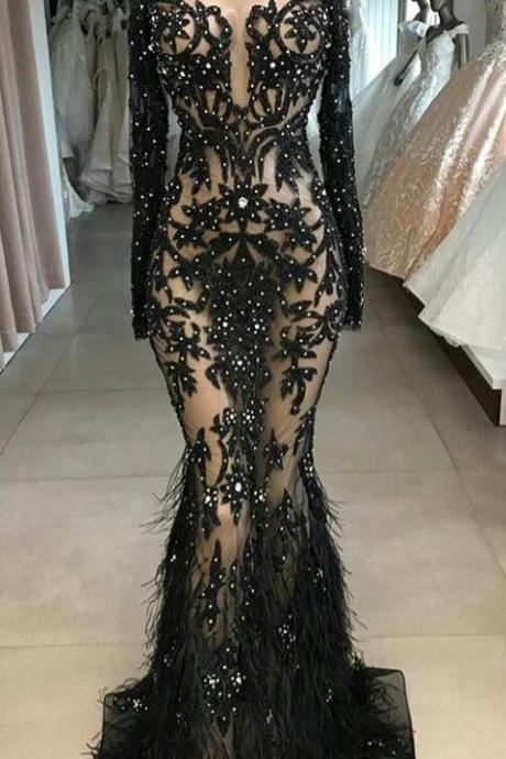 black prom dresses, feather prom dresses, lace evening dresses, fashion party dresses, mermaid evening dresses, beaded prom dresses, pearls prom dresses, mermaid evening gowns