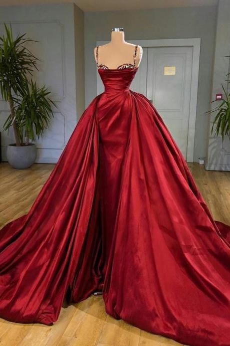 red prom dresses, 2021 prom dresses, detachable prom dresses, sweetheart prom dresses, satin evening dresses, fashion prom dresses, newest prom dresses, ball gown evening dresses, fashion prom dresses