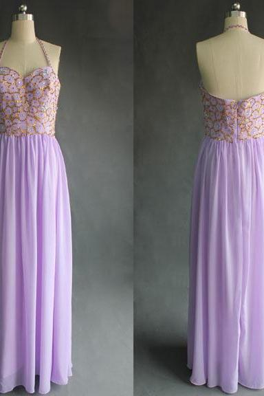Lavender Prom Dress, Halter Prom Dress, Beaded Prom Dresses, Long Prom Dress, Simple Prom Dress, Prom Dresses 2016, Backless Prom Dress, Sexy Prom Dress, Purple Prom Dress
