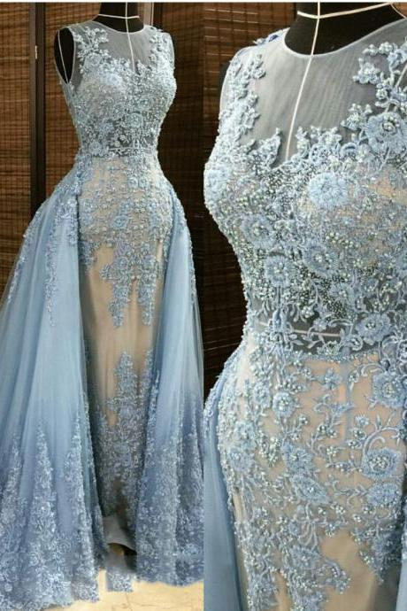 Blue Lace Evening Dresses, 2016 Pearls Evening Gowns, Detachable Train Prom Dresses, Lace Appliques Prom Gowns, Tulle Evening Gowns, Custom Make Women Party Dresses, 2016 Evening Gowns