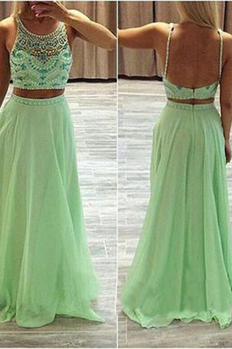 Two Pieces Evening Dress, Green Evening Dresses, 2016 Two Pieces Evening Gowns, Crystal Prom Dresses, 2016 Two Pieces Prom Gowns, Chiffon Women Party Dresses