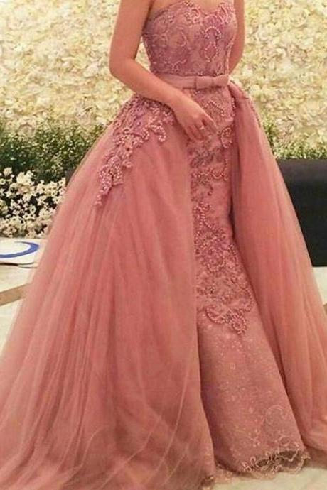 Pink Evening Dresses 2016, Sweetheart Prom Dresses, Pearls Evening Gowns, Lace Evening Dress, Tulle Women Dresses, Lace Prom Gowns, New Arrival Formal Dresses