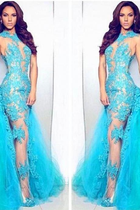 Blue Evening Dresses, 2016 Tulle Evening Gowns, Lace Appliques Prom Dresses, Detachable Train Prom Dresses, 2016 Special Occasion Dresses, Sheer Bodice Evening Gowns, Women Lace Dresses