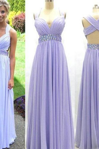 Purple Prom Dress, Chiffon Prom Dress, Rhinestones Prom Dress, Floor Length Prom Dress, Cheap Prom Dress, Elegant Prom Dress, Custom Prom Dress, 2016 Prom Dresses, Backless Prom Dress, Prom Gowns