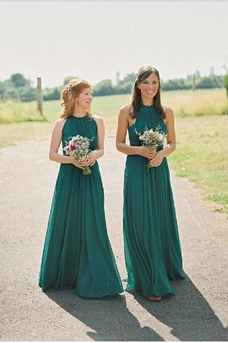 Hunter Green Long Bridesmaid Dress, Chiffon Bridesmaid Dress, Simple Bridesmaid Dress, Cheap Bridesmaid Dress, 2016 Bridesmaid Dresses, Halter Bridesmaid Dress