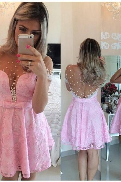 Sheer Crew Neckline Party Dresses, Short Party Dresses, Pink Lace Peals Party Dresses, Cheap Cocktail Party Dresses, Backless Party Dress, Graduation Dresses For Girls, Homecoming Dresses 2016