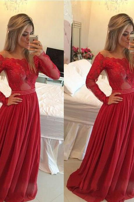 Long Sleeve Red Lace Prom Dress, A Line Chiffon Prom Dresses, Elegant Simple Affordable Prom Gowns, See Through Sheer Back Prom Dresses 2016
