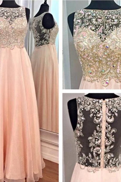 Rhinestones Pink Long Prom Dresses, Off Shoulder See Through Prom Dresses, Elegant Beading Custom Prom Dress, 2016 New Arrival Formal Dresses Prom, Prom Gowns