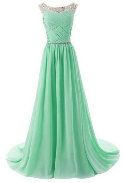 Cap Sleeve Chiffon Mint Green Long Rhinestones Elegant Cheap Bridesmaid Dresses 2016 Wedding Party Dresses