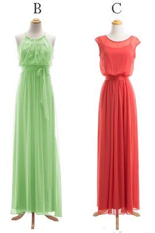 Elegant Chiffon Cheap Long Mismatched Bridesmaid Dresses Wedding Party Dresses For Women