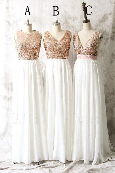 Rose Sequin Mismatched Chiffon Long Custom Cheap Bridesmaid Dresses 2016 Wedding Party Dresses