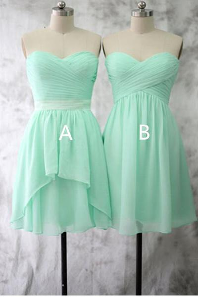 Mint Green Short Mismatched Chiffon Bridesmaid Dresses Women Girls 2016 Wedding Guest Dresses