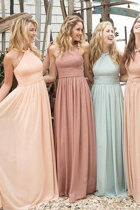 Backless Halter Chiffon Long Sexy Bridesmaid Dresses Pleated Simple Elegant Cheap Wedding Party Dresses 2016
