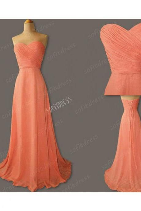 Sweetheart Neckline Cheap Long Chiffon Coral Colored Bridesmaid Dresses 2016 Formal Party Dresses