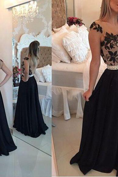 Cap Sleeve A Line Prom Dresses Lace Black Chiffon Sheer Back Elegant Floor Length Prom Gowns 2016