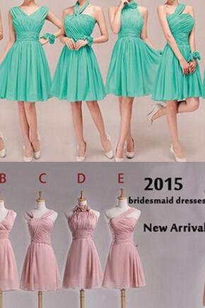 Mismatched Chiffon Knee Length Bridesmaid Dresses Blush Pink Short Junior Bridesmaid Dress Wedding Guest Dresses 2016