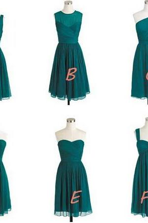Hunter Green Chiffon Short Cheap Mismatched Bridesmaid Dresses Wedding Guest Dresses For Bridesmaids