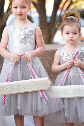 Sequin Tulle Silver Cheap Flower Girl Dresses Cute Toddler Little Girl Dresses Kids Dresses