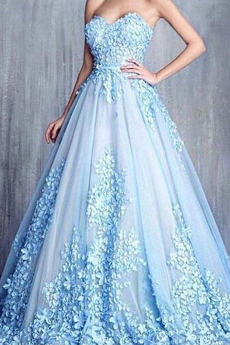 Handmade Flower A Line Blue Long Prom Dresses Cheap Elegant Prom Dress Sweetheart Neck Women Formal Gowns 2016