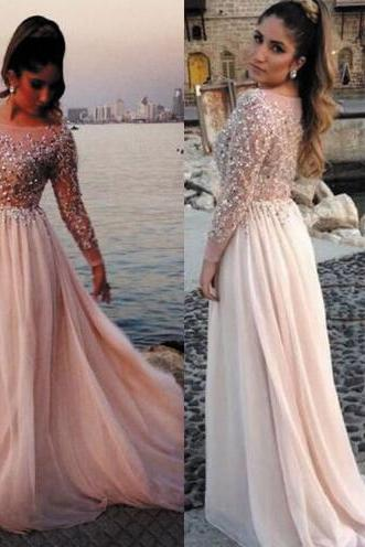 Long Sleeve Beaded Chiffon Champagne Elegant Prom Dresses 2016 Sheer Cheap Prom Gowns Vestido De Festa