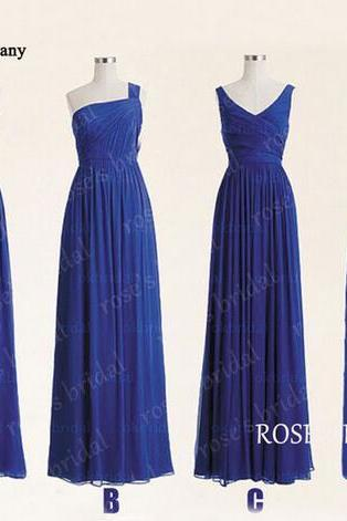 Royal Blue Mismatched Long Chiffon Cheap Bridesmaid Dresses 2016 Wedding Party Dresses