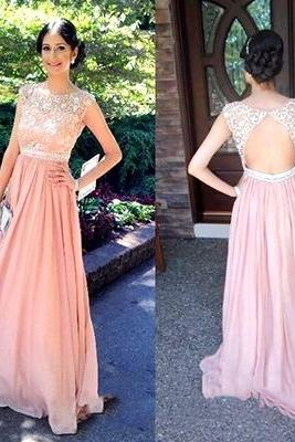 Cap Sleeve Lace Backless Chiffon Long Prom Dresses 2016 Elegant Cheap Formal Dresses Vestido De Festa