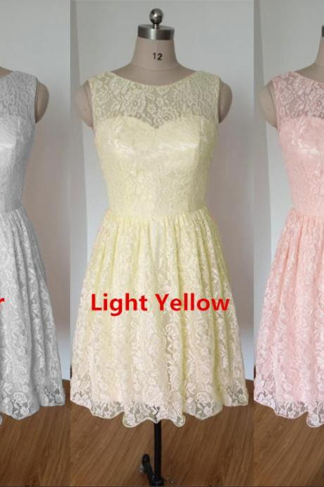 Knee Length Lace Bridesmaid Dresses 2016 Short Cute Junior Cheap Bridesmaid Dress Wedding Party Dresses For Weddings