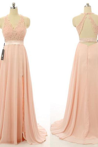 A Line Halter Long Blush Pink Bridesmaid Dress Cheap Lace Beads Wedding Party Dress Formal Prom Dress