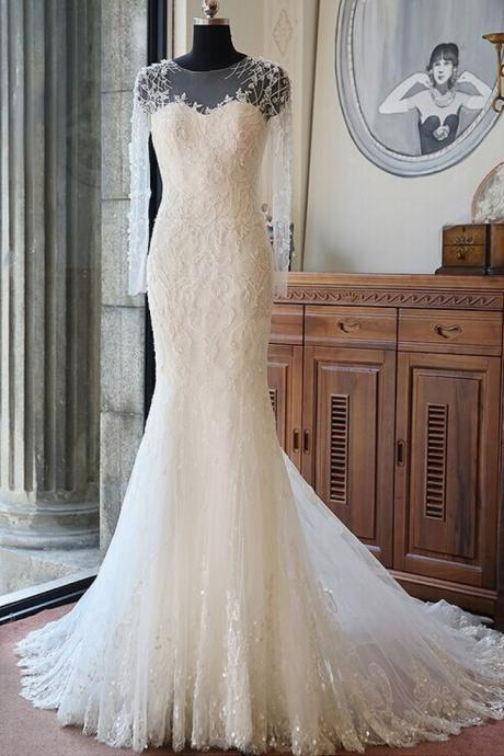 Long Sleeve Chapel Train Wedding Dress Ivory Mermaid Lace Elegant Cheap Wedding Dress Bridal Dresses 2016 Vestido De Novia
