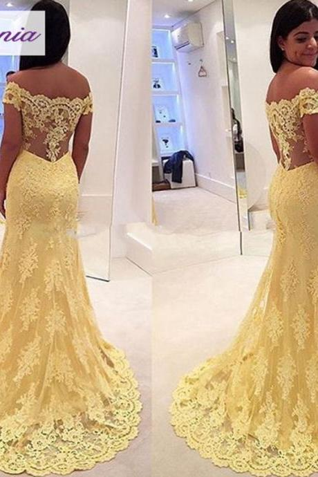 Yellow Lace Mermaid Evening Dress Cap Sleeve 2016 New Arrival Formal Dresses Cheap Long Sheer Back Formal Dresses For Women