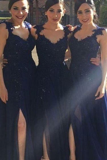Cap Sleeve Lace Beads Long Bridesmaid Dresses 2016 Chiffon Sexy Side Slit Bridesmaid Dress A Line Elegant Wedding Party Dresses Navy Blue