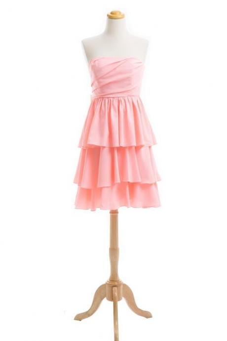 Sweetheart Neckline Tiered Cheap Chiffon Pink Bridesmaid Dresses Short 2016 Wedding Guest Dresses For Girls
