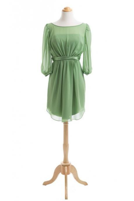 Long Sleeve Modest Green Bridesmaid Dress 2016 Chiffon Cheap Short Custom Bridesmaid Dresses 2017 Dresses For Weddings