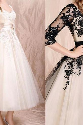 2017 New Arrival Wedding Dress Lace A Line Tulle Short Wedding Gowns Half Sleeve Elegant Bridal Dress Vestido De Novia