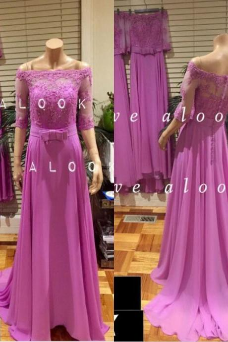 Long Sleeve 2016 Lace Elegant Purple Chiffon Prom Dress Formal Party Dresses 2017 A Line Cheap Prom Gowns