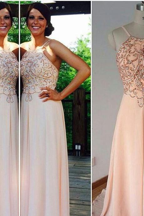 Halter Sexy Backless Champagne Prom Dress Chiffon Sparkly Beading Long Prom Dresses 2016 A Line Cheap Formal Dresses