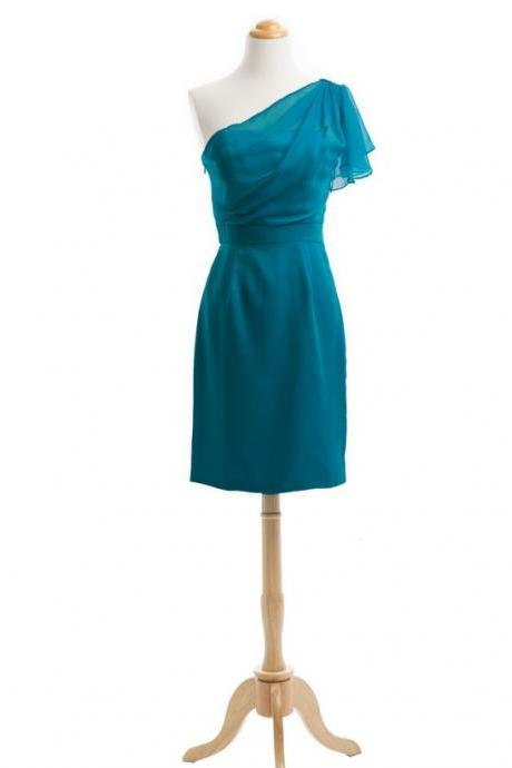 One Shoulder Teal Green Short Bridesmaid Dress Wedding Party Dresses 2016 Chiffon Cheap Junior Bridesmaid Dresses