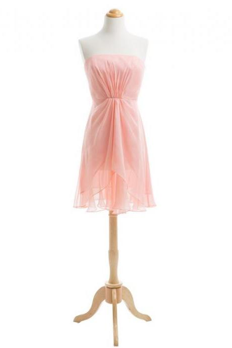 Strapless Knee Length Chiffon Bridesmaid Dresses Blush Pink Cheap Wedding Party Dresses
