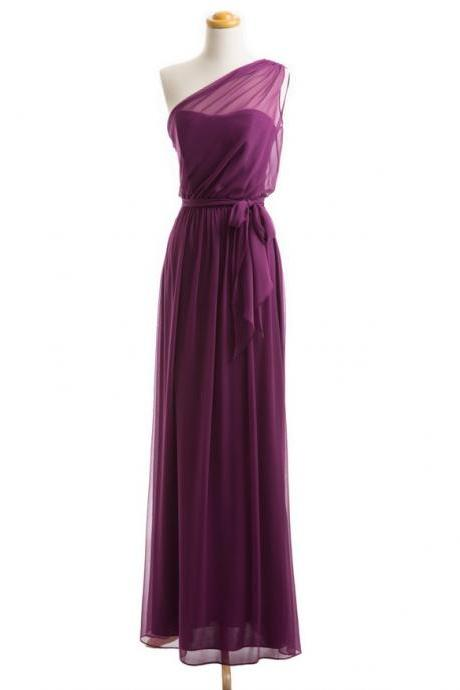 One Shoulder Chiffon Long Cheap Bridesmaid Dresses Elegant Simple Formal Dresses For Weddings 2017 Wedding Guest Dresses