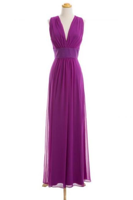 Off Shoulder V Neck Bridesmaid Dresses Chiffon Long Purple Cheap Bridesmaid Dress Wedding Guest Dresses 2016