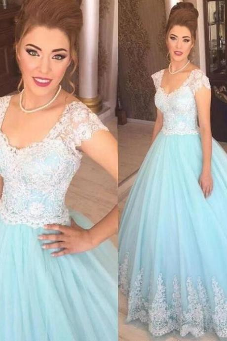 Cap Sleeve Wedding Dress, Wedding Ball Gown, Blue Wedding Dress, Elegant Wedding Dress, Lace Applique Bridal Gown, Tulle Bridal Dresses, Saudi Arabic Wedding Gowns