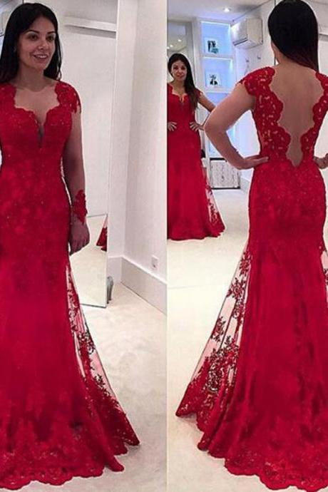 A Line Prom Dress, Lace Prom Dresses, Red Prom Dresses, Cap Sleeve Prom Dresses, Elegant Prom Dresses, 2017 Prom Dresses, Cheap Formal Dresses, Long Prom Dresses