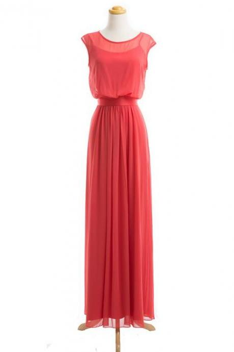 Coral Colored Bridesmaid Dress, Long Bridesmaid Dress, Chiffon Bridesmaid Dress, Cheap Bridesmaid Dress, Bridesmaid Dresses, Elegant Bridesmaid Dress